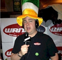 Rich Fisher broadcasting on St Pats Day for WRNR-FM in 2012